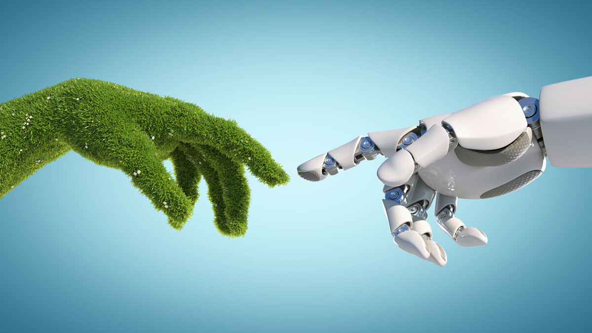 Nature and technology abstract concept, robot hand and natural hand covered with grass reaching to each other, tech and nature union, cooperation, 3d rendering - Illustration