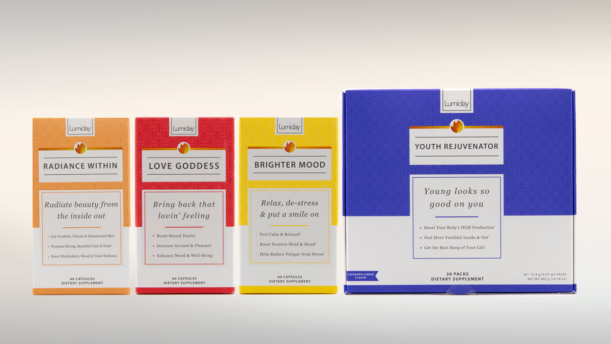 Lumiday line of dietary supplement packs
