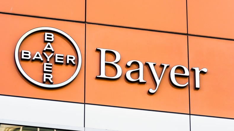 Nov 2, 2019 San Francisco / CA / USA - Bayer offices located in Mission Bay District; Bayer AG is a German multinational pharmaceutical and life sciences company, one of the largest in the world