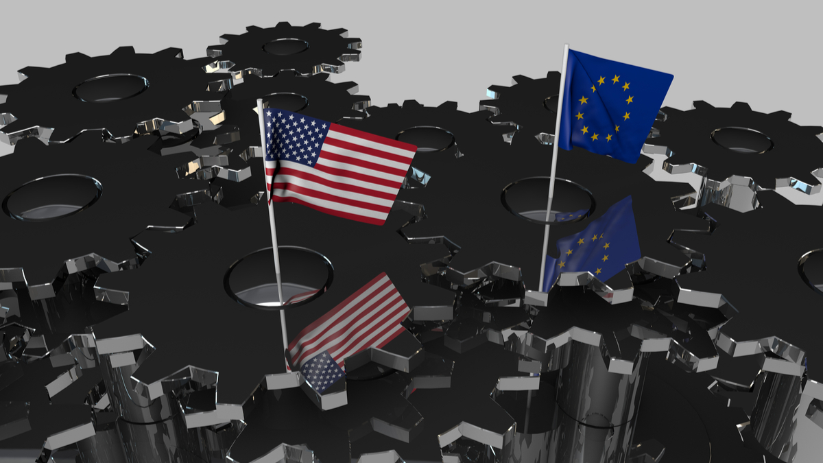 EU drafts retaliation list for possible U.S. auto tariffs. Flags of the USA and the European Union on Meshing Gears. Art Concept. 3D Rendering. - Illustration
