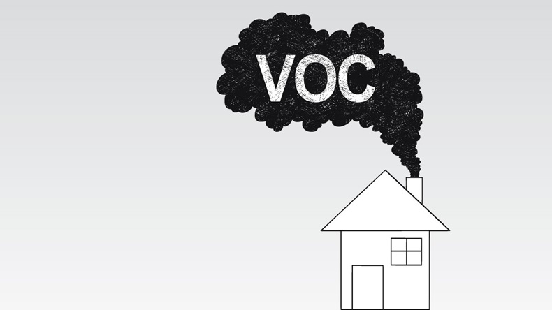 Vector artistic pen and ink drawing illustration of smoke coming from house chimney into air. Environmental concept of VOC or volatile organic compound pollution. - Vector