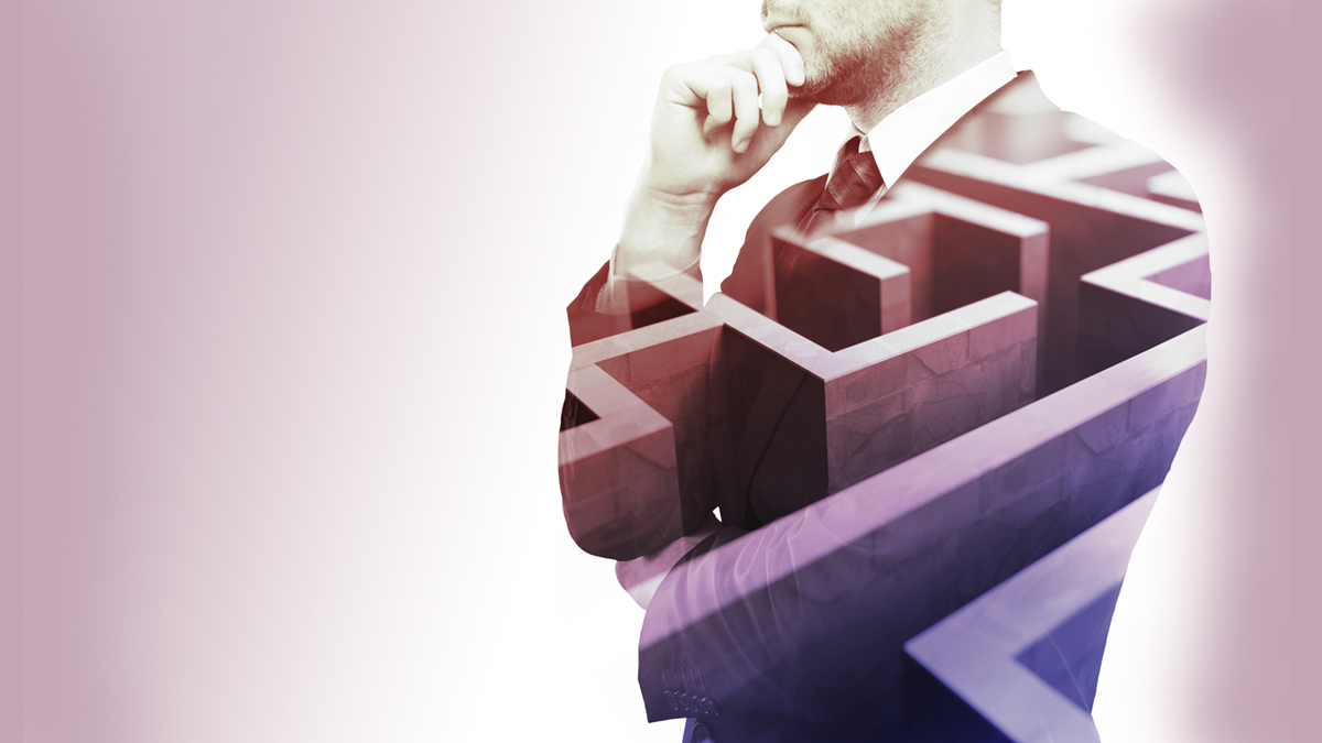 Young businessman thinking about ways to overcome business obstacle. Isolated with maze and copy space. Double exposure