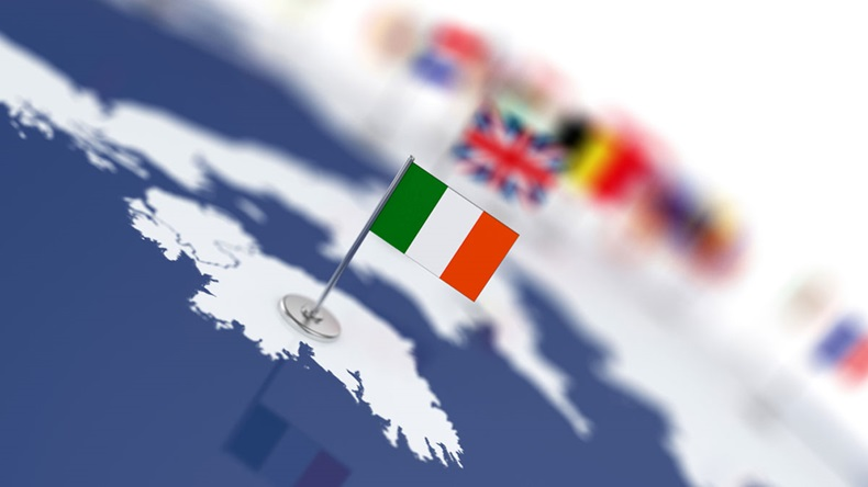 Ireland flag in the focus. Europe map with countries flags. Shallow depth of field 3d illustration rendering isolated on white background - Illustration