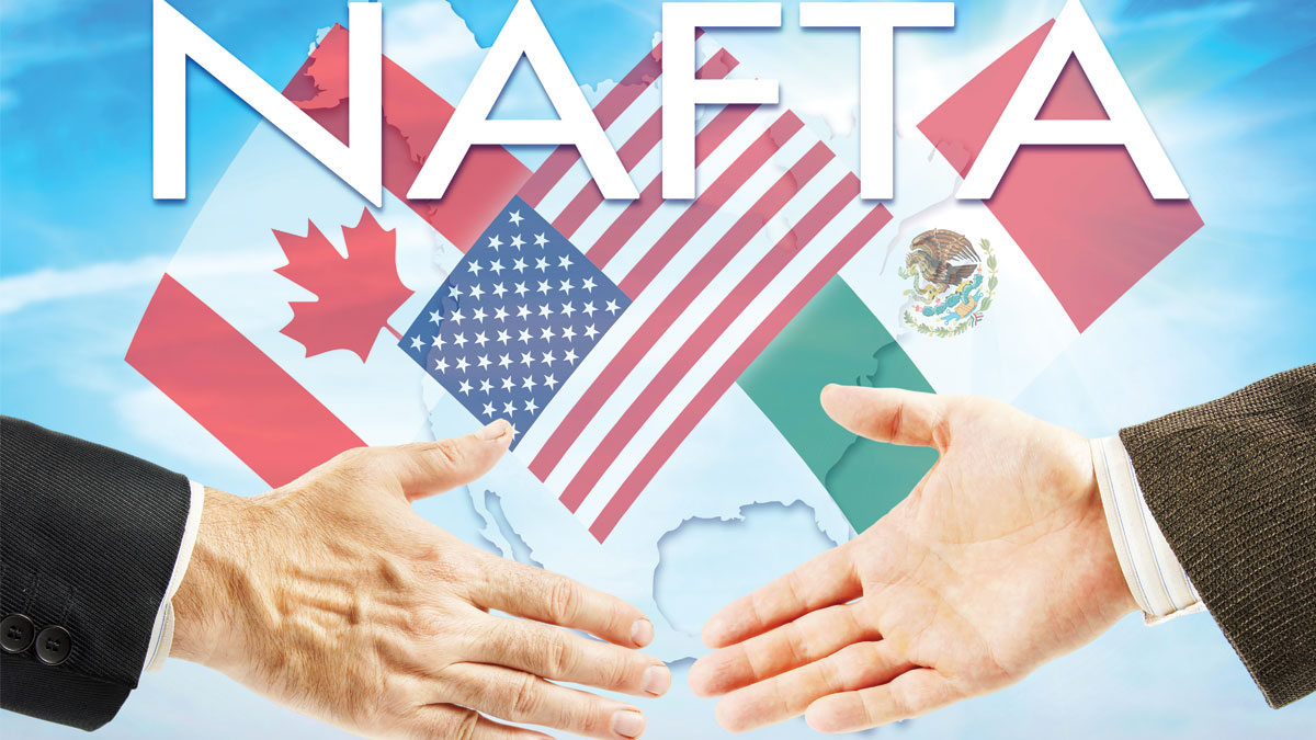 Concept of NAFTA. United States Canada Mexico trading association